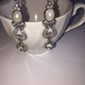 Pearl & Diamond Rhinestone Silver Event Earrings